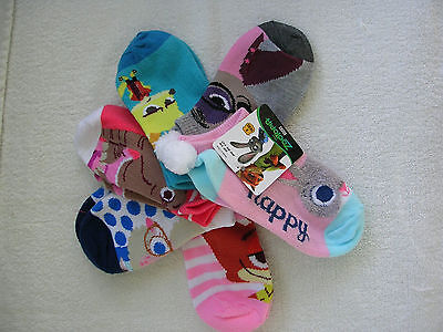 """L@@k  Girl's  """"ZOOTOPIA""""  6 Pairs  No-Show SOCKS FITS SIZE S/M  9 - 2.5  NWT"""