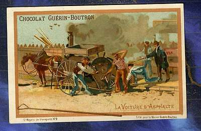 CHROMO GUERIN-BOUTRON transport 9 voiture d'asphalte Cantonnier Roadmender Car