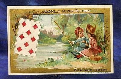 CHROMO GUERIN-BOUTRON VIEILLEMARD CARTE 8 carreau Diamonds card Patience peche