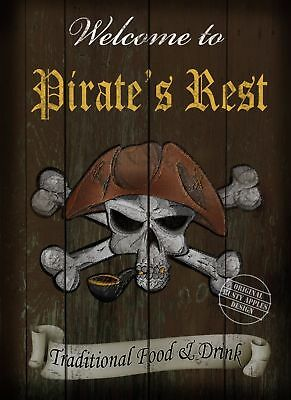 Pirate's Rest  Vintage Style Metal Pub  Sign  :3 Sizes  To Choose From