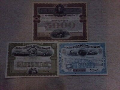 Lot of 3 Different Railroad Stock Certificates ABNC