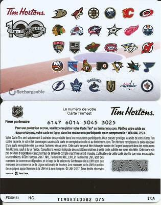 TIM HORTONS 2017 NHL 100th CENTENNIAL SEASON 31 TEAM LOGO FRENCH ONLY GIFT CARD