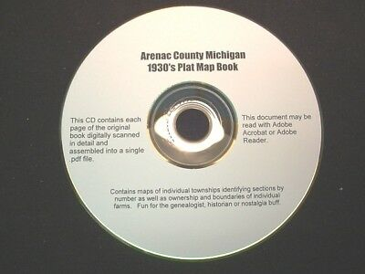 CD ~ 1930's Arenac County Michigan Plat Map Atlas