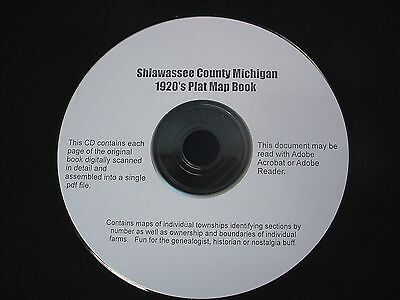 CD ~ 1920's Shiawassee County Michigan Plat Map Book Atlas