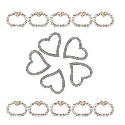 15 Pieces Silver Heart shaped Rhinestone Buckle Slider for Hair Accessories