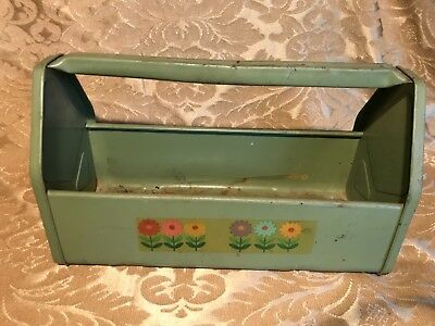 Vintage Metal Tool Box Caddy Garden Tote Carrier Tray Green Paint Primitive VTG