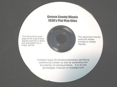 CD ~ 1930's Greene County Illinois Plat Map Atlas