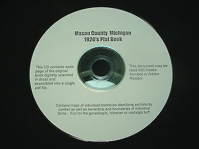 CD ~ 1920's Mason County Michigan Plat Map Atlas