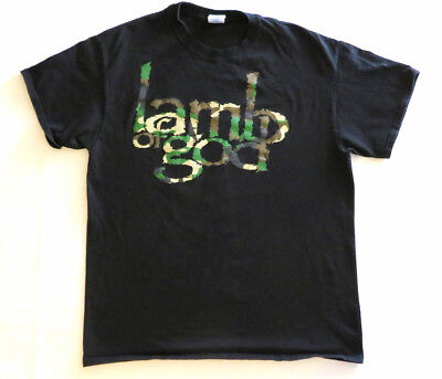 LAMB OF GOD T Shirt CONCERT TOUR Heavy Metal BAND L Camo Logo