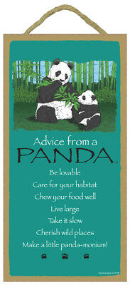Advice From a PANDA 10 x 5 Wood SIGN Plaque USA Made