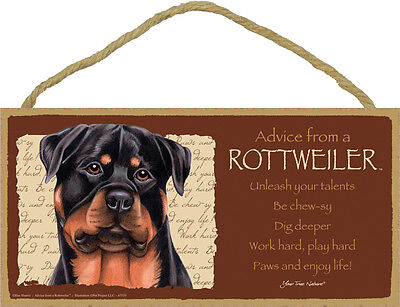 Advice From A ROTTWEILER Dog Head 5 x 10 Wood SIGN Plaque USA Made
