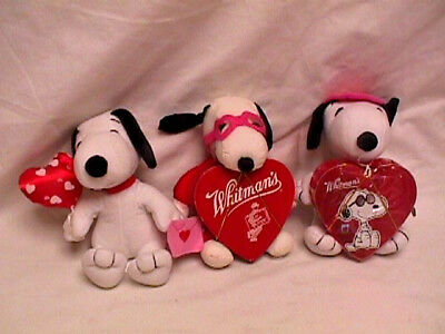 Lot 3 Vtg Plush VALENTINE'S DAY SNOOPY Figures Whitman's Chocolates 1 NWT&Candy