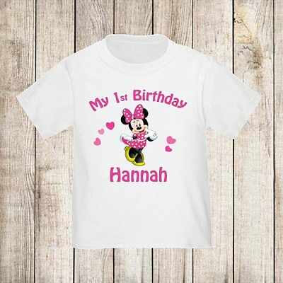 1st Birthday Girl Minnie Mouse Hot Pink Personalized Shirt ANY NAME and AGE