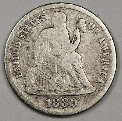 1889-s Liberty Seated Dime.  About Fine.  119512