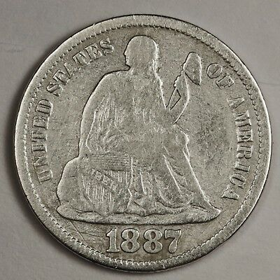 1887-s Liberty Seated Dime.  Circulated.  119502
