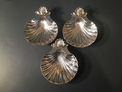 """Lot Of 3 Antique Bell Mark Old Sheffield Dies Elevated Oyster Dishes 5"""" X 6"""""""
