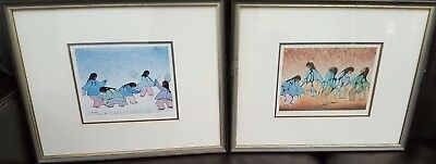 Two Canadian Native Art Cecil Youngfox Framed Signed Prints - Sunset Dancers