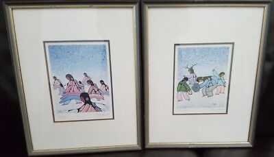 Two Canadian Native Art Cecil Youngfox Framed Signed Prints - Medicine Dancers