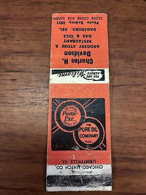 Vintage Pure Gas & Oil Collectible Purol-Pep Gasoline Advertising Matchbook