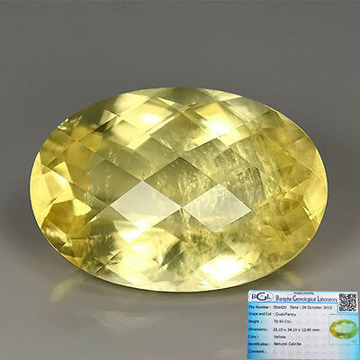 (BGL-CERTIFIED) 76.50 Ct NATURAL MEXICO CHECKER BOARD YELLOW CALCITE Oval GEM !!