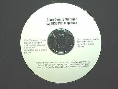 CD ~ 1930's Clare County Michigan Plat Map Book
