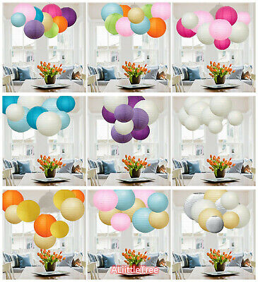 9/12 PCs Mixed New Round Paper Lanterns Lamp Shade Wedding Birthday Party Decor