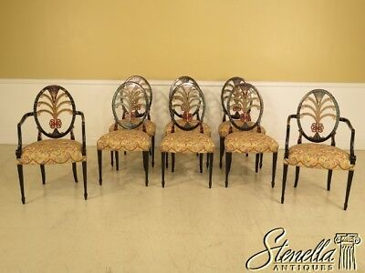 L40868EC/L40872EC: Set Of 8 Quality Hand Painted Hepplewhite Dining Room Chairs