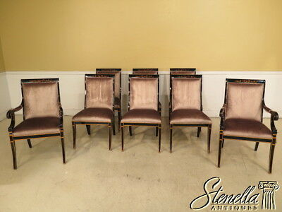 L40426: Set of 8 Chinoiserie Decorated Mahogany Dining Room Chairs ~ NEW