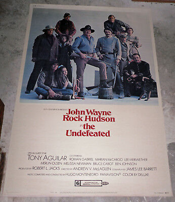 THE UNDEFEATED orig 1969 large 40x60 movie poster JOHN WAYNE/JAN-MICHAEL VINCENT