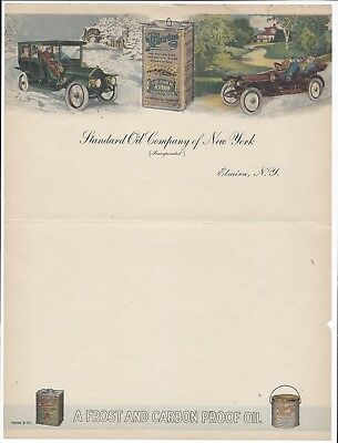 c1910s Color Letterhead, Standard Oil, NY, Cans of Polarine Products Shown