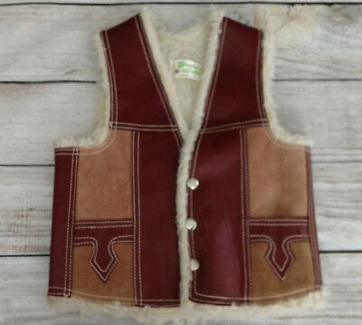 Genuine Leather Children's Suede Western Snap Front Sherpa Lined Vest Kids Sz 4