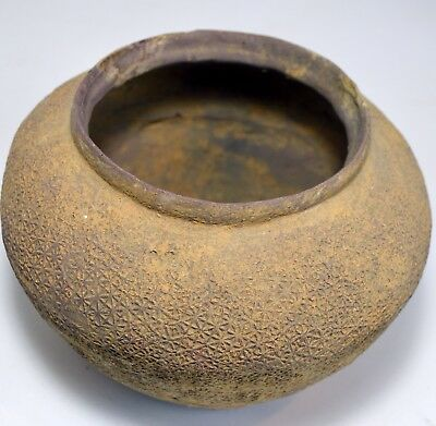 Warring States Ancient Earthenware Terracotta clay vessel with textile imprint