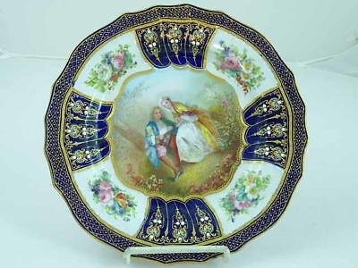 Sevres 18th C Cobalt Blue Jeweled Hand Painted Cabinet Plate Ca 1769