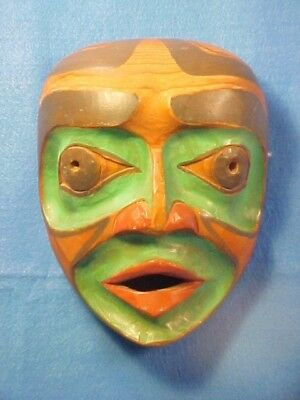 Rare Original Old Vtg North West Cost Carved And Painted Mask Fresh From Estate
