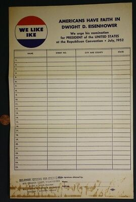 1952 GOP Delaware Citizens for Dwight Ike Eisenhower for President sign-up sheet