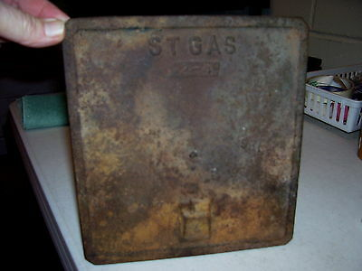 Vintage Cast Iron St Gas 2-4 Furnace Door Plate Stove Steampunk Piece