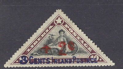 "Liberia 1915 Red Cross triangle, DOUBLE overprint of ""+2c"" #B1"