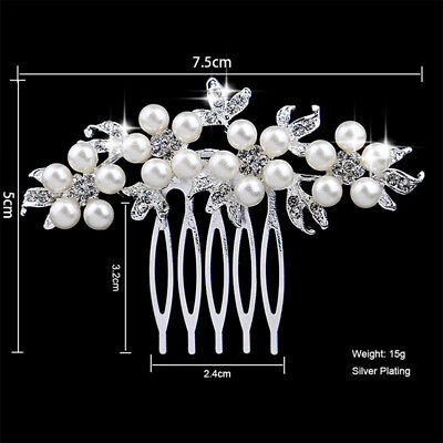 Pageant Woman Hairwear Wedding Party Bride Handmade Crystal Pearl Hair Combs Pin