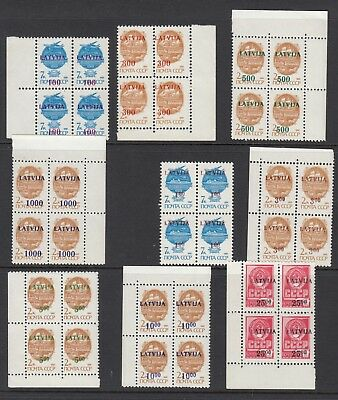 LATVIA 1991 & 1992 SURCHARGES, Blocks of 4, Mint Never Hinged