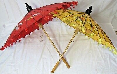Vtg Hand Painted Asian Paper Oil Umbrellas Parasols Red Yellow Floral Set of 2