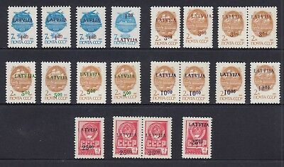 LATVIA 1991 SURCHARGES 4 sets of 5, Mint Never Hinged