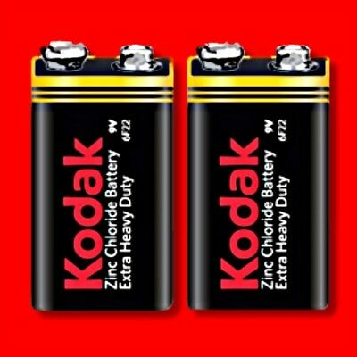 2 x KODAK 9V BATTERY EXTRA HEAVY DUTY PP3 SQUARE SMOKE ALARM