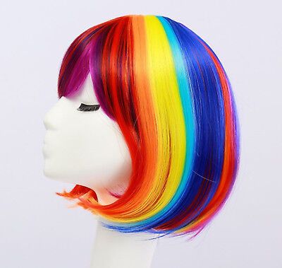 Women Girl Rainbow Colorful Multicolor Fancy Costume Party Short Bob Hair Wigs