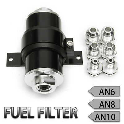 High Flow Aluminum Racing Petrol Fuel Filter 100 Micron AN6 AN8 AN10 Fitting Kit