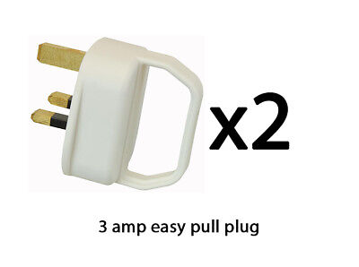 Easy Pull Mains Plug Top 3A Amp WHITE Fused arthritis disability elderly x 2