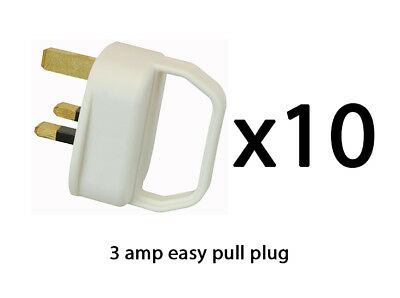 Easy Pull Mains Plug Top 3A Amp WHITE Fused arthritis disability elderly x 10