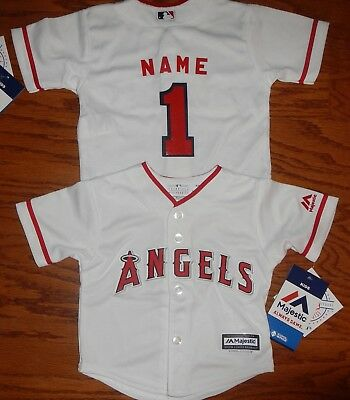 Los Angeles Angels Cool Base MLB Majestic Infant Replica Jersey add name  number