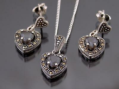925 Sterling Silver Marcasite Heart Cut Black Stone Pendant Earring Set Necklace
