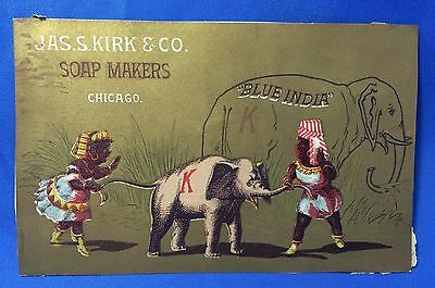 """c 1900 Antique Kirk SOAP """"Blue India"""" ELEPHANT Advertising Victorian Trade Card"""