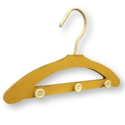 Belle Maison Coat Wall Hook Distressed Yellow Hanger 3 Hooks with Button Pegs